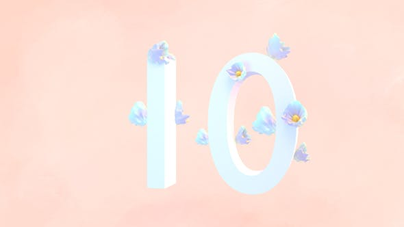 Thumbnail for 3D Numbers Countdown With Flower Decoration
