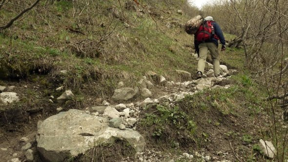 Thumbnail for Hiker With Red Backpack Walking Uphill  Video
