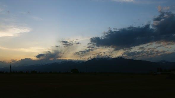 Mountain Area Cloudy Sunset