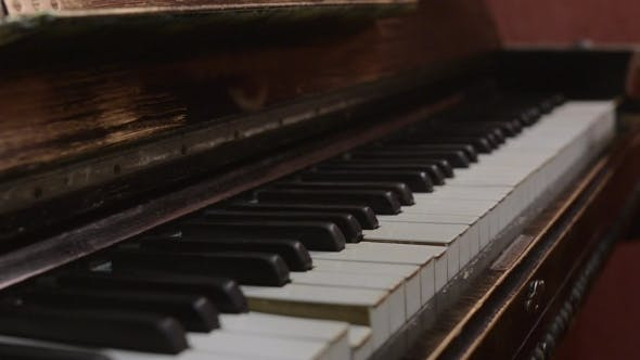 Thumbnail for Professional Musician Playing Melody On Retro Piano. Talent. Song. Black And White Keys.