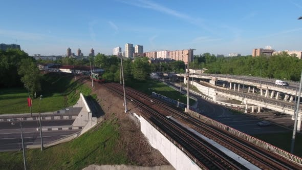 Moving Locomotive Train On The Bridge