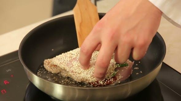 Frying Sesame Breaded Chicken Breast