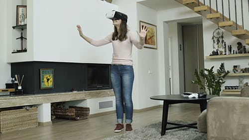 Girl Acting In Virtual Reality World