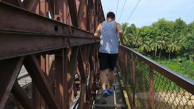 Tracking Shot Of Man Running