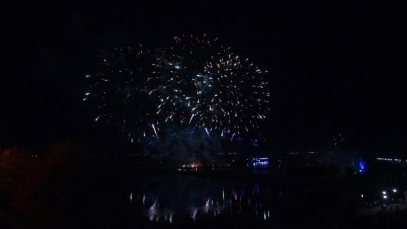 Thumbnail for Fireworks Over The River. Reflection. Panorama.