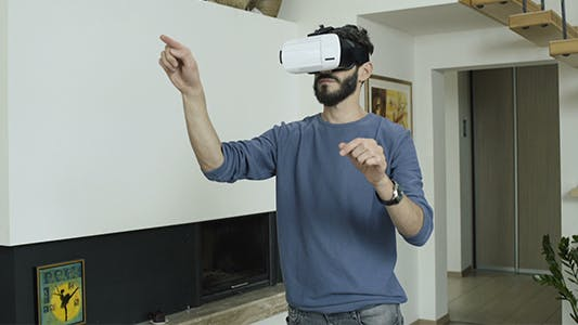 Cover Image for Man Working In Virtual Reality