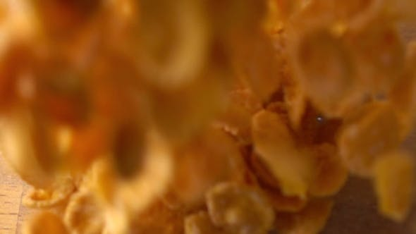 Thumbnail for Pouring Corn Flakes Into Glass Bowl Super