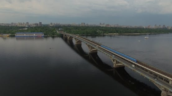 Thumbnail for Subway Train Bridge Aerial View