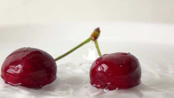 Thumbnail for Two Cherries With Same Stem Hitting Wet White Plate