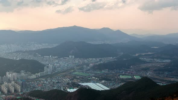 Thumbnail for Timelapse Pictorial Busan City Surround Grey Hilltops
