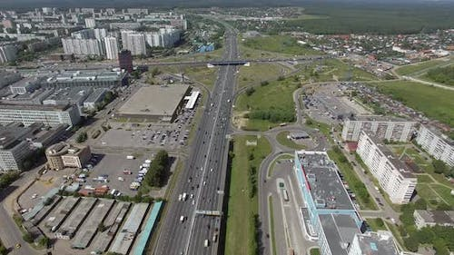 Flying Over Multilane Highway with Intersections in Moscow, Russia