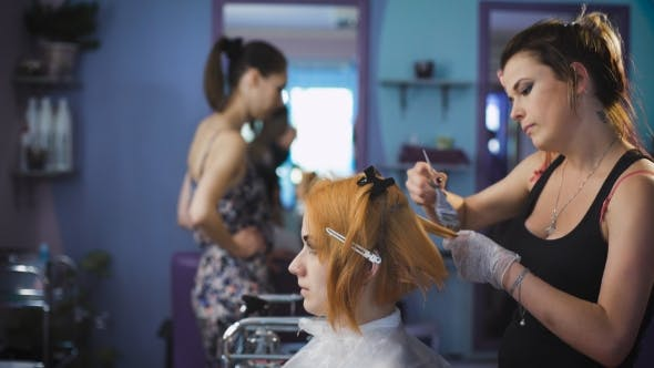 Thumbnail for Professional Hair Color Salon. Pretty And Smiling Girl Came To Her Stylist