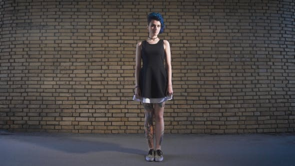 Thumbnail for Street Youth Movements And Styles. Beautiful Girl In a Black Dress On Brick Wall Background.