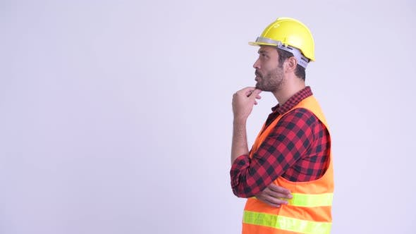 Cover Image for Profile View of Happy Bearded Persian Man Construction Worker Thinking