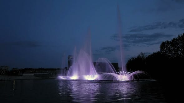 Thumbnail for Bright Fountain On The Water Pond Or River