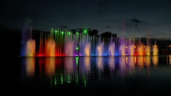 Thumbnail for Colorful Bright Fountain With Beautiful Reflection