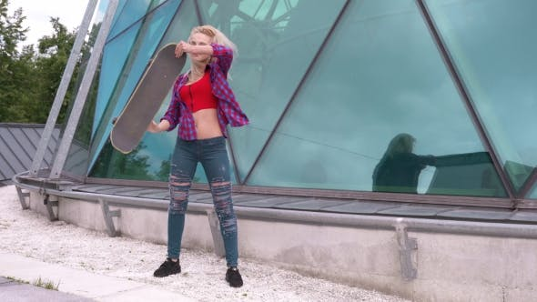 Thumbnail for Beautiful Skater Woman Outdoor, Urban Background