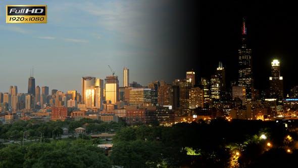 Thumbnail for Golden Chicago Skyline at Sunset