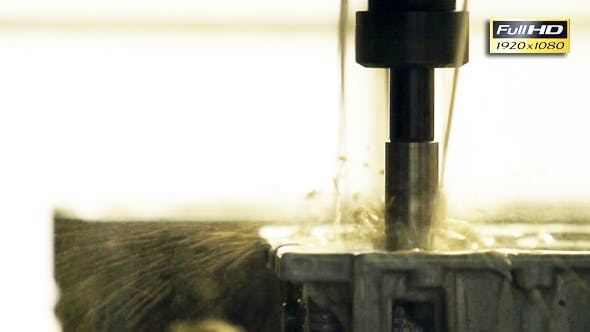 Thumbnail for Industrial Lathe Works Metal Drilling With Precision.