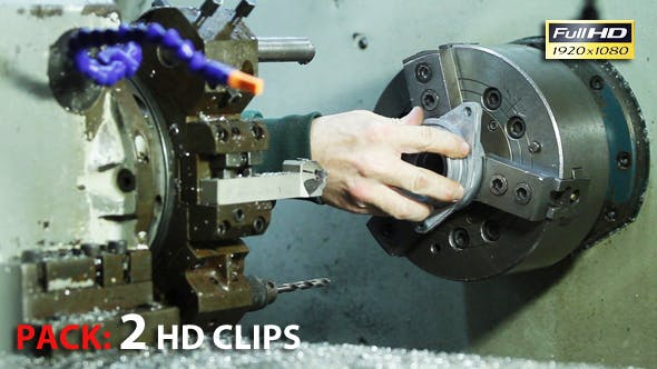 Thumbnail for Industrial Lathe. Pack 2 Full HD Clips.