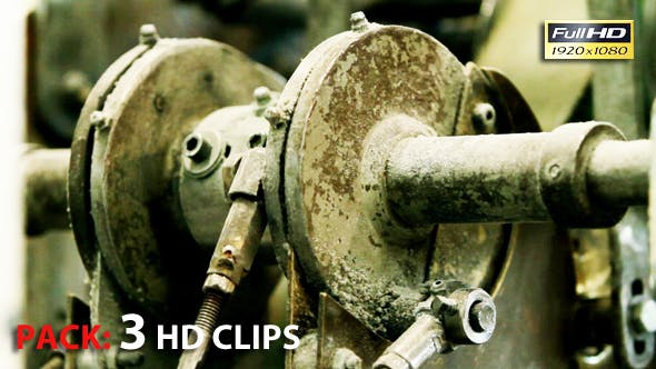 Thumbnail for Vintage Industrial Machinery Gears. Toilet Paper Production. Pack 3 Full HD Clips.