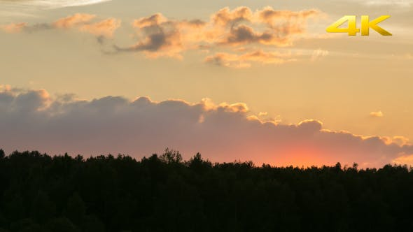 Thumbnail for Sunset With Clouds Over The Forest 2