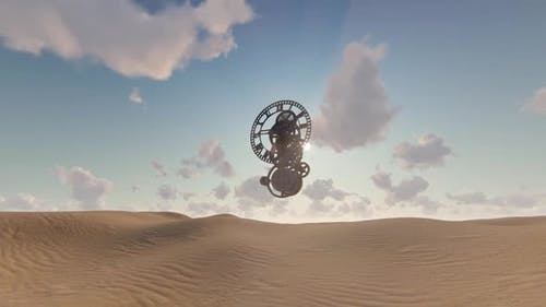 Wüste und Uhr - surreale Szene