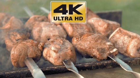 Thumbnail for Barbecue Skewers With Meat Cooking On The Grill