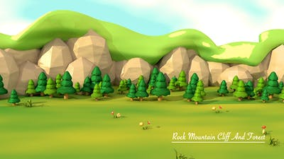 Cartoon Mountain Cliff And Forest
