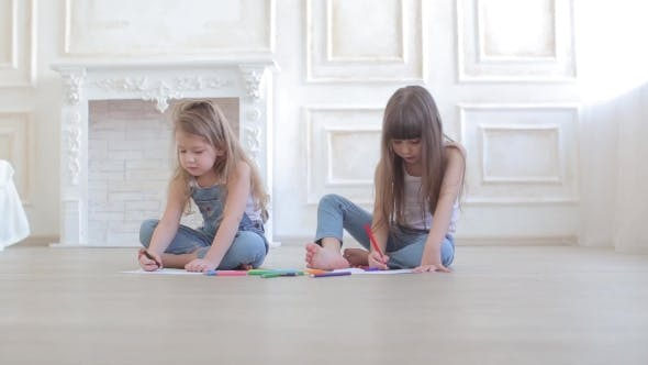 Thumbnail for Two Little Girls Draw