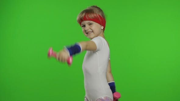 Thumbnail for Caucasian Girl in Sportswear Making Exercises with Dumbbells, Workout for Kids, Athletic Child