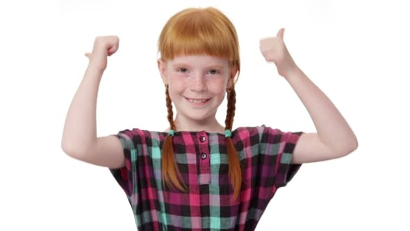 Thumbnail for Redhead Girl With Two Pigtails Is Showing Thumb Up Gesture
