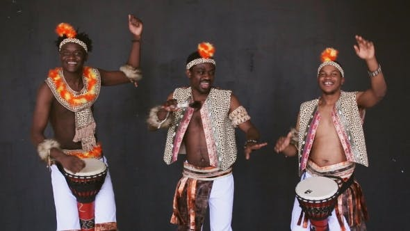 Thumbnail for African Tribe Dancing On Black Background