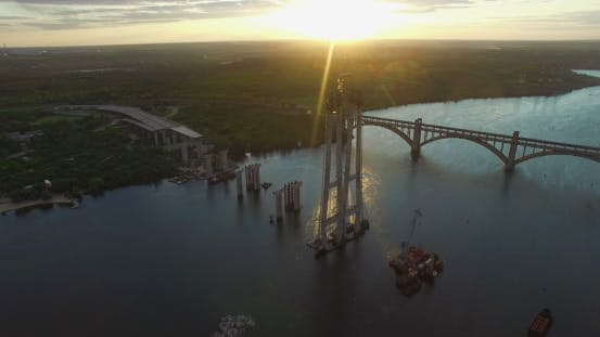 Thumbnail for Aerial View On Building New Bridge Over River