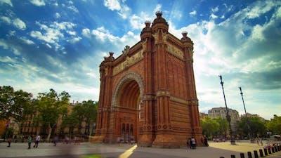 Barcelona Triumphal Arc.  Of Clouds Sky Over Barcelona Triumphal Arch