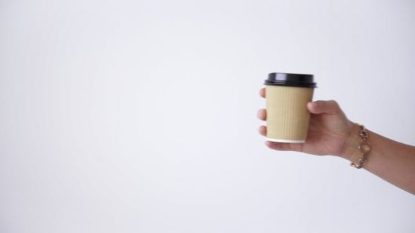 Thumbnail for Exchanging Take Away Paper Cups In Center, Sale Concept