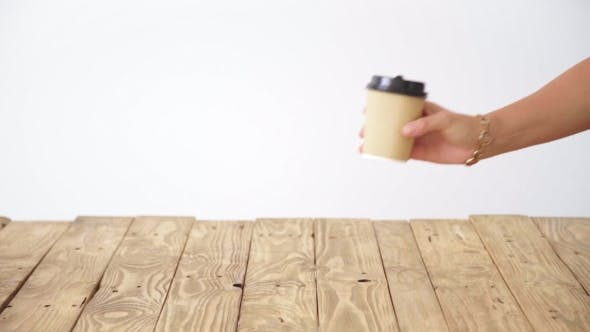 Thumbnail for Paper Caup From Cardboard Above Rustic Wooden Table Action