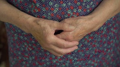 Old Woman Wrinkled Hands.