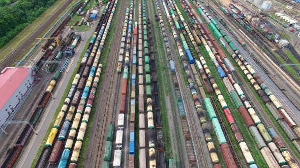 Railway Yard With a Lot Of Railway Lines and trains