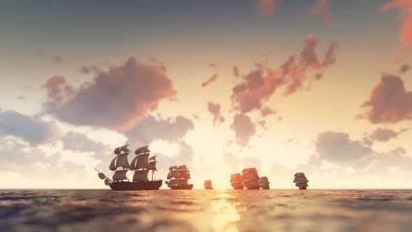 Thumbnail for Sailing Galleons - Sunset