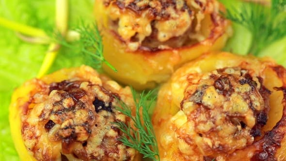 Thumbnail for Boats Potato Stuffed With Beef Meat And Hard Parmesan.
