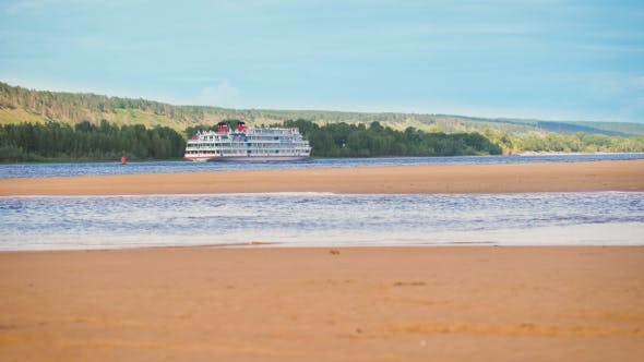 Thumbnail for Cruise Ship, Cruise Liners. The Ship Is On The Narrowest Point Of The River.