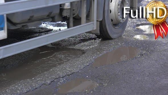 Thumbnail for Lorry is Driven by Wet Road Back Bumper
