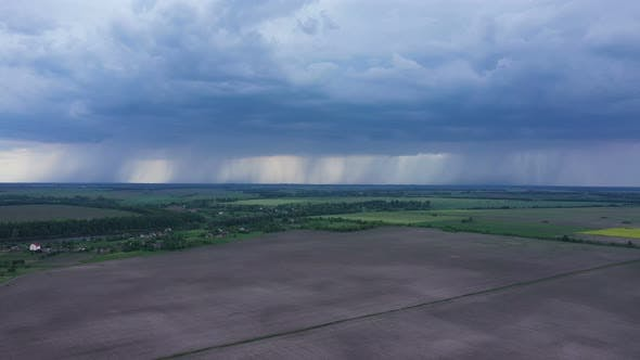 Aerial View Thunderclouds Near Field