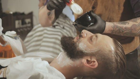 Thumbnail for Client During Beard Shaving In Barber Shop
