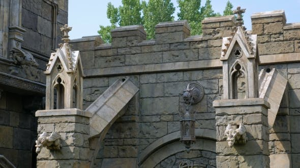 Thumbnail for Wall Of Medieval Castle With Columns, Decoration, Towers
