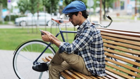 Thumbnail for Man With Tablet Pc Sitting On City Street Bench 31