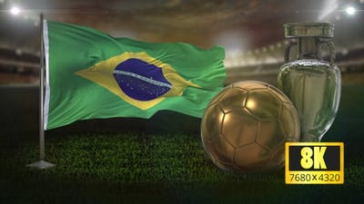 8K Brazil Flag with Football And Cup Background Loop