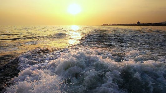 Thumbnail for Sea Waves Bubbles and Sunset Behind Ferryboat 2