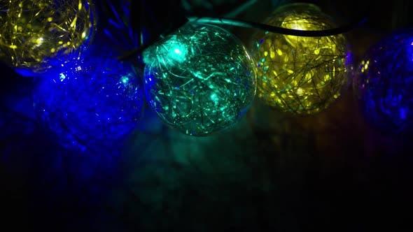 Thumbnail for Cinematic, Rotating Shot of ornamental Christmas lights